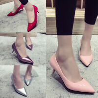 Ladies Womens Low Mid Heel Pumps Pointed Toe Kitten Heel Court OL Stiletto Shoes