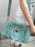 Turquoise Studded Barrel Handbag  Long Strap Two Shoulder Straps Good Con
