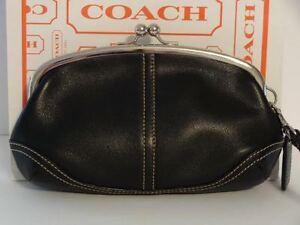 COACH Soho Kisslock Black Leather Framed Wristlet Clutch Purse Cosmetic Case WOW