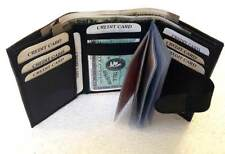 GENUINE LEATHER BLACK CREDIT CARD WALLET /PURSE ID HOLDER TRIFOLD FOR MEN'S #1