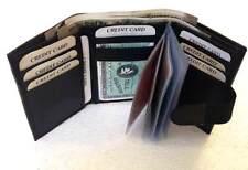 Genuino Cuero Negro Billetera Monedero Tarjeta De Crédito/ID Holder triple para hombre #1