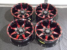"14"" STI HD6 RED & BLK ATV WHEELS COMPLETE SET 4  LIFETIME WARRANTY  IRSL5"