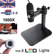 USB Microscope Endoscope 1000X 8 LED 2MP Digital Magnifier Camera + Lift Stand