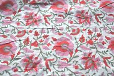 1 Yard Red Floral Hand Block Fabric Beautiful Indian 100% Cotton Fabric Craft