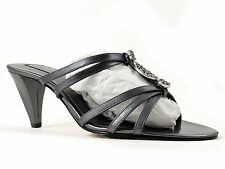 Bandolino Women's Quitarah Slip-On Strappy Sandals Pewter Leather Size 9.5 M