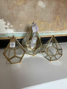 3 X Hanging Planter Succulent Candle Glass Brass terrarium BNWT string lights