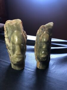 Pair Rough Hand Polished Hand Carved Green Onyx Face Statues Or Bookends