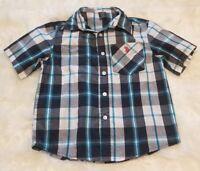 U.S. Polo Assn. Boy's Short Sleeve Button Up Plaid Shirt Blue ▪Size 5/6