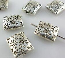 12pcs Tibetan silver flat rectangle Phi Flower Spacer Beads 9*10mm fit Bracelet