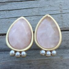 Lucky Brand Women's Rose Quartz with Pearls Earrings Teardrop