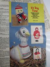 Vintage Humpty, Goose, Red Hood Toy Knitting Pattern retiré de vieux magazine