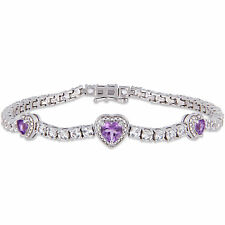 Sterling Silver Amethyst and Created White Sapphire Triple Heart Bracelet
