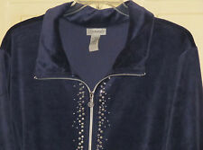WOMENS CATHERINES ZIPPERED STUDDED JACKET PLUS 5X NWT BLUE VELOUR ZIP-UP