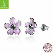 Purple Enamel Daisy Flower Earrings for Women Fine Jewelry,Authentic S925 Silver