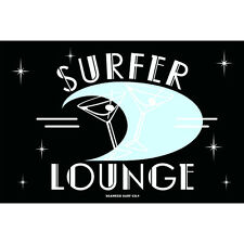 Surfer Lounge Retro Cocktail Bar Party Man Cave Metal Poster Sign Wall Art 12x18