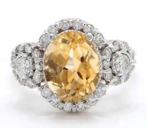 4.90 Carat Natural Yellow Citrine and Diamonds in 14K Solid White Gold Ring