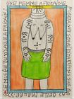 FREDERIC BRULY BOUABRE SIGNED ORIGINAL AFRICAN TRIBAL DRAWING, A SCARIFIED WOMAN