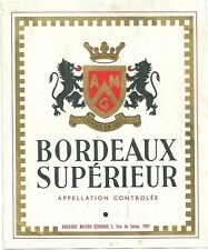 Etiquette de vin Bordeaux supérieur wine Lion Blason Héraldique