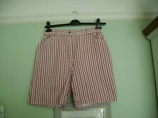 TRUE VINTAGE 80'S DOROTHY PERKINS STRIPED HIGH WAISTED SHORTS 12/14 MOM/JEANS