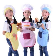 Apron and Hat Set Kids Childrens Chefs Cooking Baking Kitchen Useful