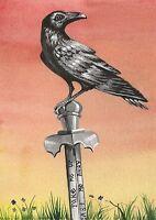 ACEO PRINT OF PAINTING RAVEN CROW RYTA KING ARTHUR EXCLIBUR FOLK ART LEGEND SAX