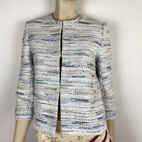 Perri Cutten Women's Open-Front Texture Sparkle Blue Jacket Size XS ~A10