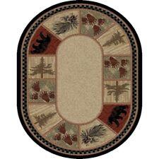 "5x8 (5'3"" x 7'3"") Oval Lodge Cabin Bear Paw Pinecone Area Rug *FREE SHIPPING*"
