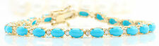 Women Natural Turquoise and Diamonds 11.75 CTW in Solid Yellow Gold Bracelet
