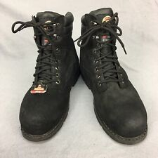 Brahma Black Leather Steel Toe Mens Work Boots sz 10 W Lace Up