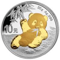 China - 10 Yuan 2020 - Panda - Teilveredelt - 30 gr Silber ST
