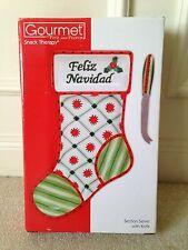 """Gourmet Fitz and Floyd """"Feliz Navidad"""" Sectioned Serving Plate & Knife NIB"""