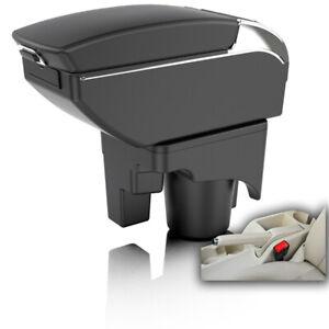 Dual Layer Black Leather Center Console Storage Box Armrest For VW Golf MK5 MK6