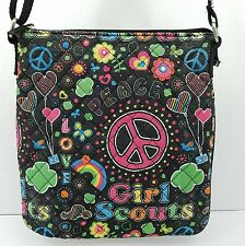 Girl Scouts Quilted Purse Cross Body Bag Pouch Black Peace Love Groovy Colors