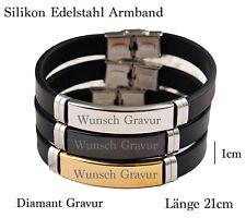 Edelstahl Silikon Armband Partner  Damen Herren Schwarz Gold o. Silber + Gravur