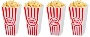 NEW Set of 4 Reusable Retro Popcorn Bucket Bowls Movie Tub Plastic FREE SHIPPING