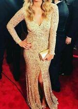 New $2,199 Rachel Gilbert Paola Gold Sequin Dress Long Gown SZ 5 / IT 46 / US 12