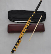 Prof. Ebony Gold plate Concert Flute B foot French point with Luxury wood case
