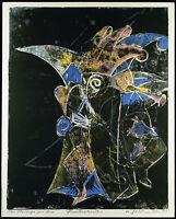 Kunst in der DDR Grosser Linolschnitt Helmut GEBHARDT (1926-1989 D) handsigniert