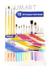 15 Paint Brush Set Flat / Round Tip Oil Watercolor Acrylic Art Craft School Tool
