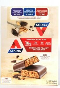 1 Box Atkins 16.9 Oz Chocolate Peanut Butter 8 Count Bar 16g Protein BB 9/24/21
