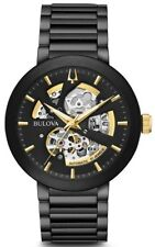 """New Bulova Black IP Stainless Steel Automatic Men' s Watch 98A203 """"New Style"""""""