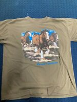 Vintage Alore Made In The USA Short Sleeve Shirt With Horses Busch Gardens