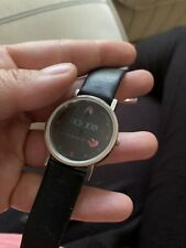 Ticlodix Vintage Black Silver Watch Heart Beat Doctor Medicine Leather Strap