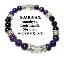 Guardian: Lapis Lazuli, Amethyst, & Obsidian Stretch Bracelet w Free SH