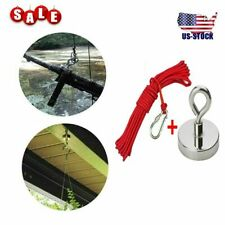 New 100lbs Fishing Magnet Kit Pull Force Strong Neodymium 10m Rope Carabiner