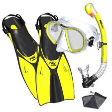 PROMATE Spectrum Adult Snorkeling Mask Fins Dry Snorkel Mesh Bag Dive Gear Set