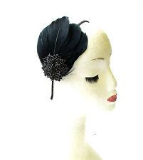 Black Feather Rhinestone Headpiece Fascinator Headband Diamante Vintage 30s 1436