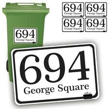 4 x Waterproof Vinyl Wheelie Bin House Numbers Road Street Name Stickers Sign A6