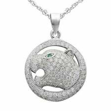 Clear CZ Micro Pave Crystal Leopard Face Hip-Hop Pendants In 925 Sterling Silver