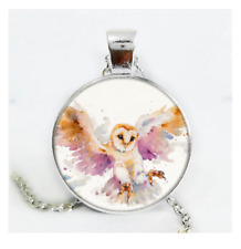 Owl Photo Cabochon Glass Silver/Black/Bronze Chain Pendant Necklace#CS51